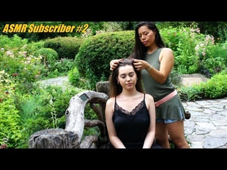 ASMR HAIRPLAY ON A BEAUTIFUL SUBBIE #2!! Long Hair Brushing, Gentle Massage, DOUBLE EPIC ENDING
