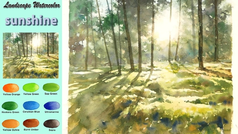 Without Sketch Landscape Watercolor sunshine wet in wet Arches rough NAMIL ART