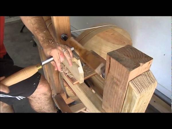 Treadle lathe and grinder