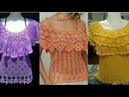 Crocheted poncho style collar blouse Tops designs and styles latest beautiful collection
