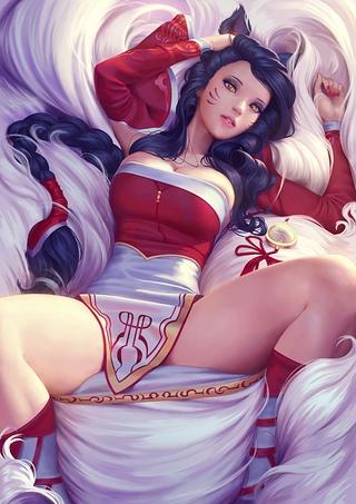 Ahri By Olchas League Of Legends Artwork Lol Fan Art Beeg Com 1