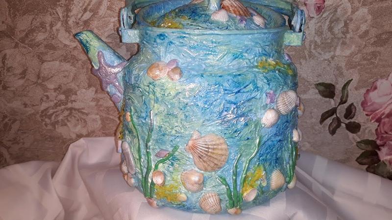 Декор старого чайника в морском стиле Decor of an old nautical style teapot