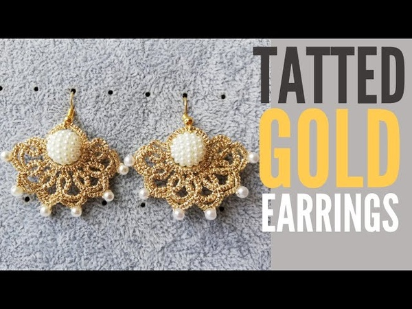 Brincos Dourados em Frivolité/ Tatted Gold Earrings ENG SUB