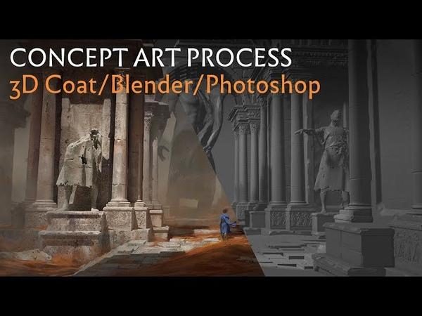 Temple Ruins Concept Art Process Blender 3D Coat Marvelous Designer Photoshop