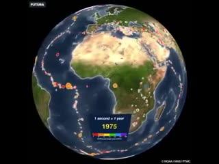 Все места землетрясений на нашей планете с указанием их магнитуды, с 1901 по 2000 год