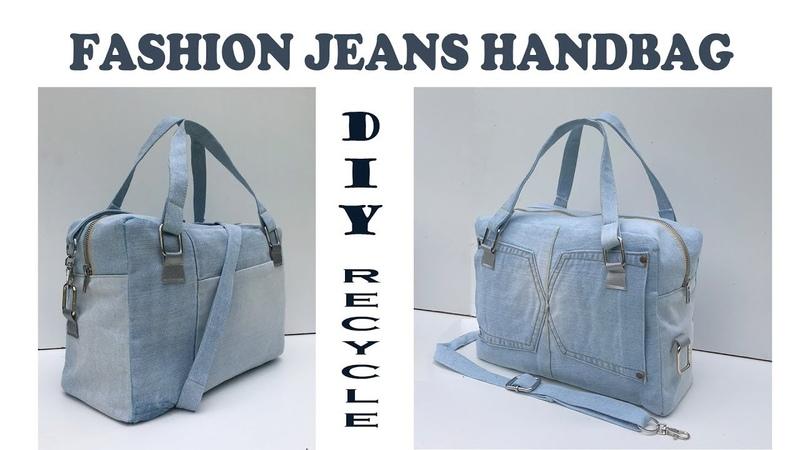 DIY BAG FASHION PURSE BAG FROM OLD JEANS JEANS BAG RECYCLE IDEAS BOLSA DIY Reciclaje de Jeans