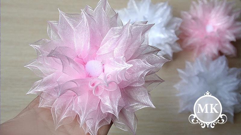 Пышные резинки для волос из органзы Канзаши МК DIY Kanzashi Scrunchy