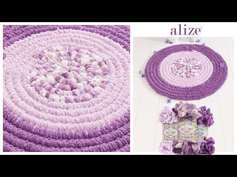 Alize Puffy ile Kolay Dekoratif Paspas Yapımı - Easy Decorative Rug Tutorial