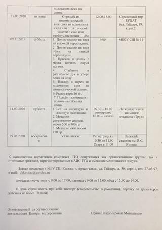 График работы Центра тестирования ВФСК ГТО (март 2020 года)