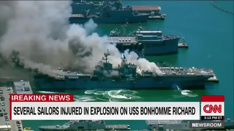 Пожар на универсальном десантном корабле USS Bonhomme Richard (LHD-6) типа Wasp ВМС США