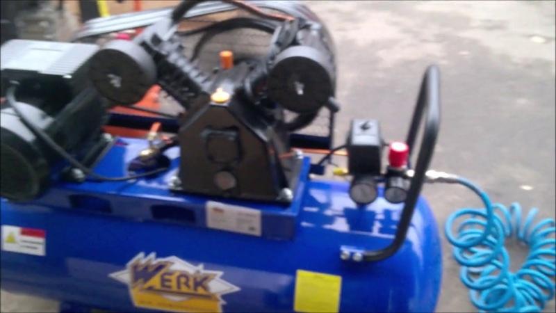 WERK VMB 2T0 4 100 обзор покупка нового двухцилиндрового ременного компрессора