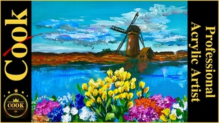 Dutch Tulips and Windmill Acrylic Painting Quarantine Quickie #27 with Ginger Cook
