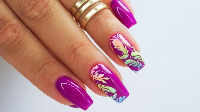 Colorful ornament nails art tutorial Cuccio