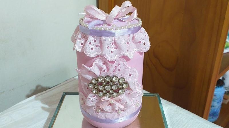 Potinho Reciclado Rosa com Bordado Inglês Estilo Vintage