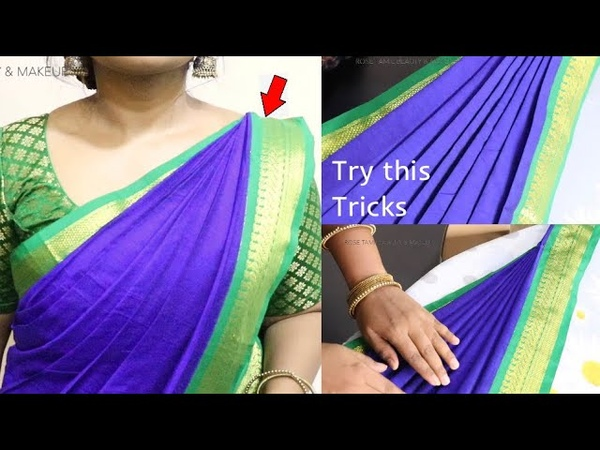 How to pleat saree pallu in Tamil wearing 2 different easy methods saree pleating tricks in tamil