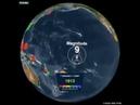 Карта землетрясений за 20 век. На ней вырисовываются границы литосферных плит.