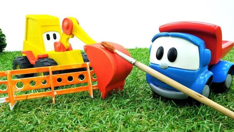 Video mit Leo dem Lastwagen Leo und Max bauen einen Spielplatz Spaß mit Spielzeugautos