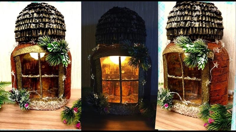 DIY Christmas glass jar decoration idea /Reverse decoupage on glass