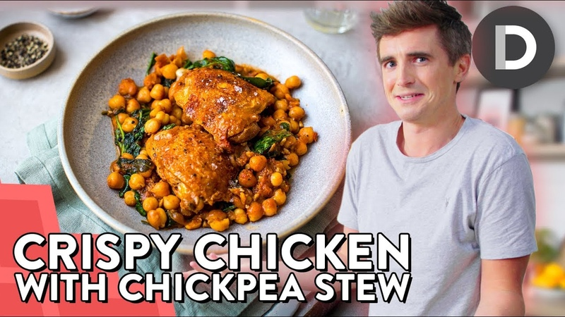 SUPER EASY Crispy Chicken Chickpea Stew!