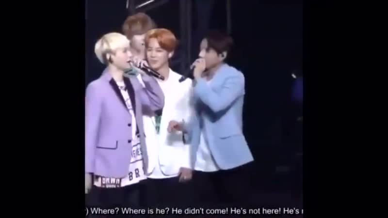 Yoongi was looking for jimin because he couldn't see him jimin is shorter than him