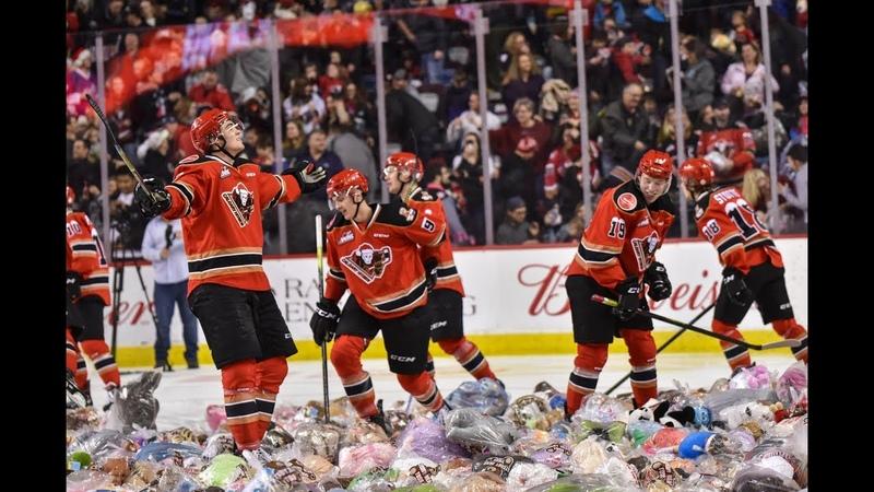 Raining Teddy Bears 2019 Calgary Hitmen Teddy Bear Toss