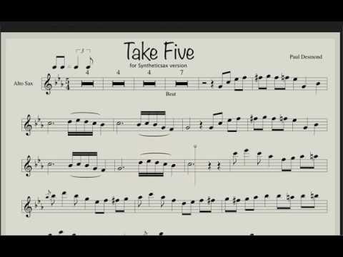 Paul Desmond Take Five sheet music Backing track for saxophone alto