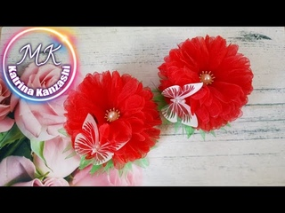 Цветы из органзы, канзаши МК/Flores de organza, kanzashi MK