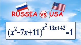 Россия vs США ★ Задача одна – ответы разные ★ Решите уравнение (x^2-7x+11)^(x^2-13x+42)=1 (16 февр. 2021)