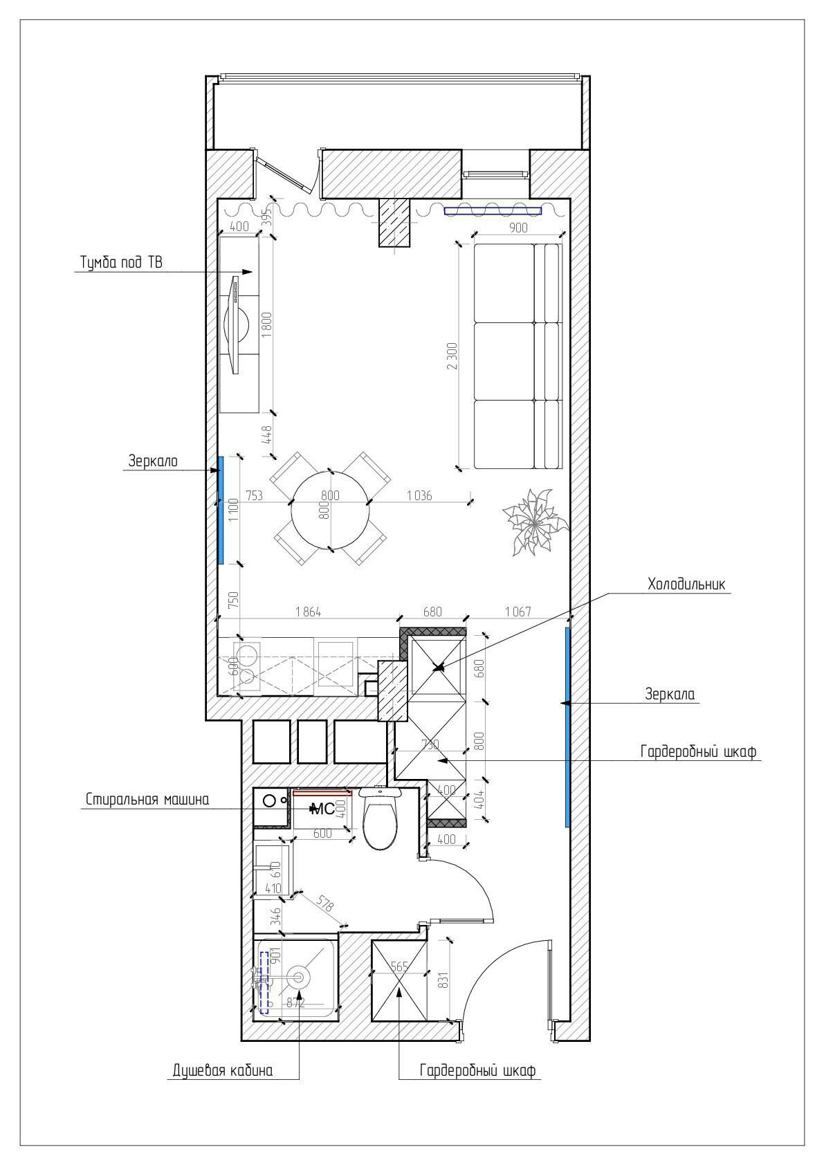 Проект квартиры-студии 27 кв.