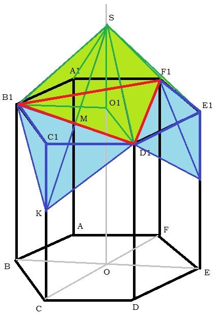 Модель пчелиной ячейки, полученной построением из правильной шестиугольной призмы