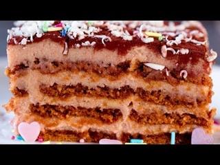 Торт из печенья без выпечки со сгущенкой (Ингредиенты под видео)   Больше рецептов в группе Десертомания