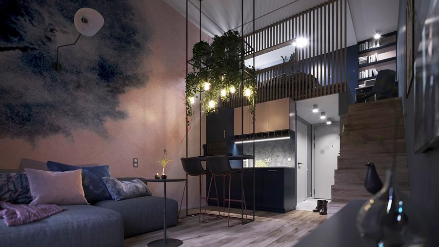 Проект двухуровневой квартиры 25 кв.