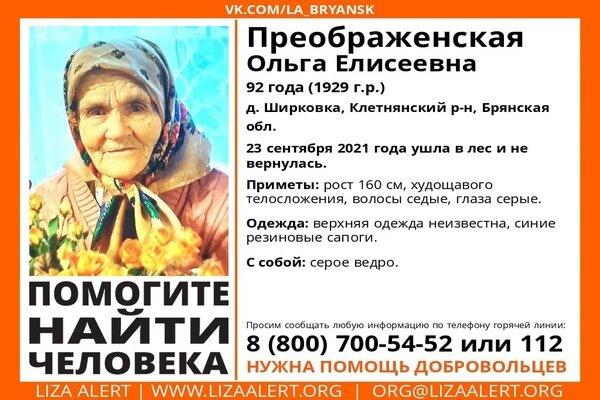 В Брянской области ушла в лес и не вернулась 92-ле...