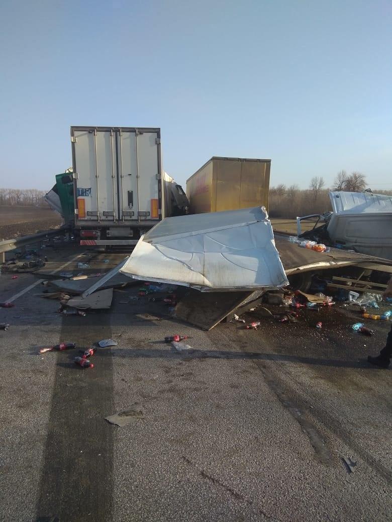 На трассе в Тамбовской области столкнулись четыре грузовика: есть погибший