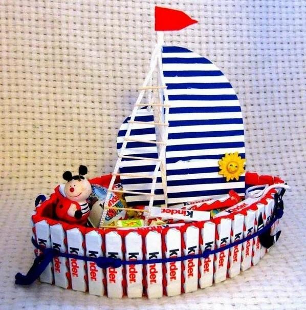 как сделать корабль из конфет своими руками пошагово,