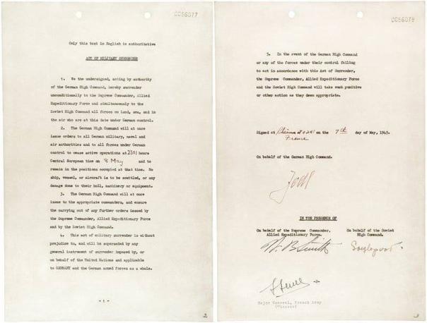 8 мая 1945 года подписан окончательный Акт о безоговорочной капитуляции Германии, а 9 мая объявлено Днем Победы