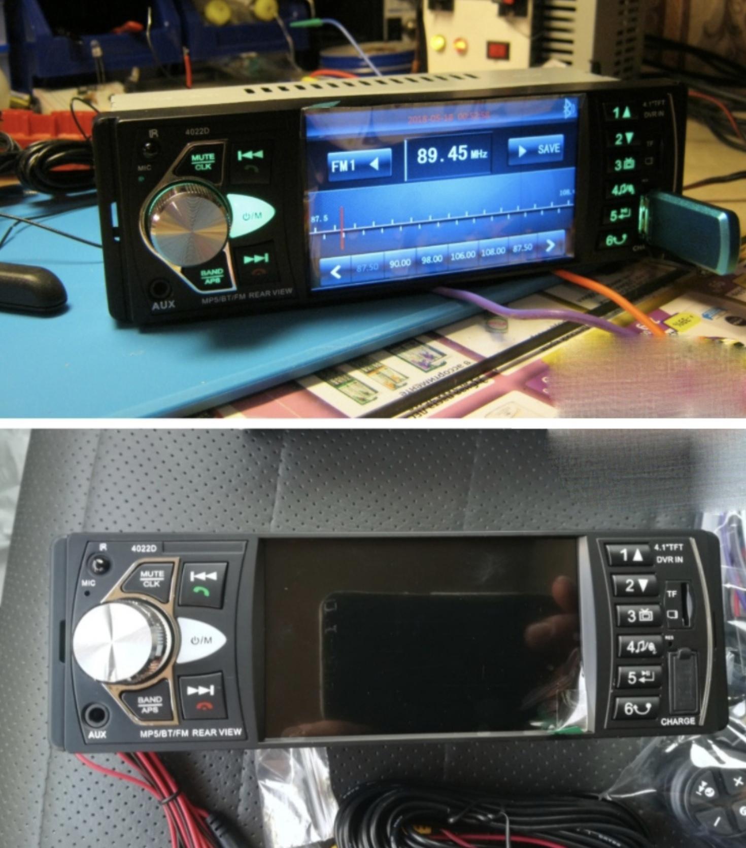 Магнитола с большим экраном пультом на руль и камерой заднего вида