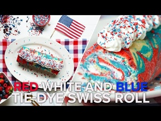 Red, White, And Blue Tie Dye Swiss Roll