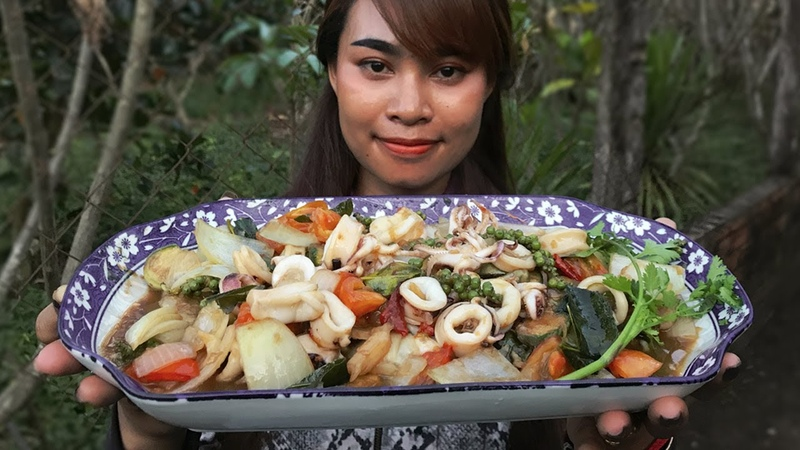 Yummy fried squid with green pepper Countryside lifestyle
