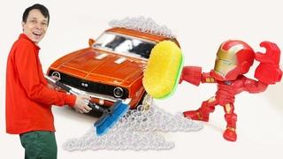 Железный Человек в Мастерской Фёдора - Соревнования машинок! Супергерои vs Злодеи! - Видео игры