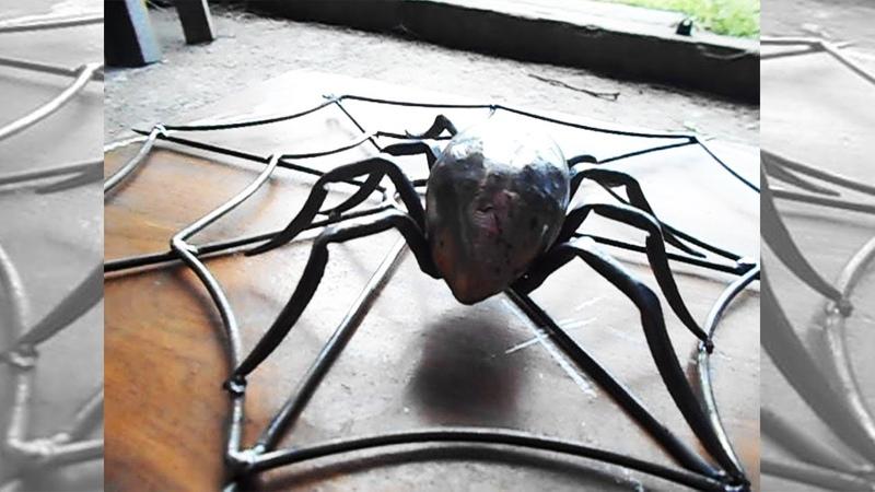 Паук крестовик Кованый паук на паутине слабонервным можно посмотреть