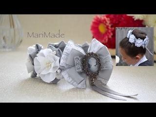 Украшение Резинка на Пучок Гульку для Школы Канзаши Kanzashi Hair Bow