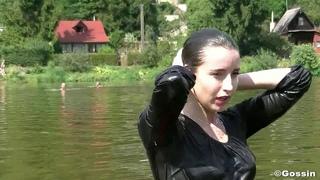 wetlook girl in river near home