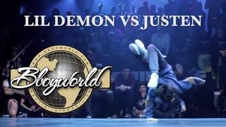 Lil Demon vs Justen // .BBoy World // EXHIBITION   KING OF THE KIDZ 2013