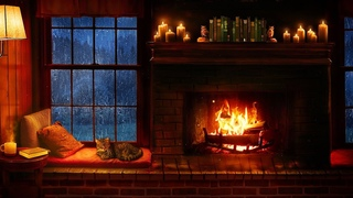 Cozy Cabin Ambience - Rain and Fireplace Sounds at Night 8 Hours for Sleeping, Reading, Relaxation