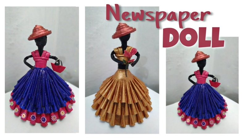 How to make newspaper doll waste material craft newspaper craft