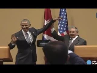 Микро-блог ценителя истории Рауль Кастро и пытавшийся похлотать по плечу его, негр.MOV
