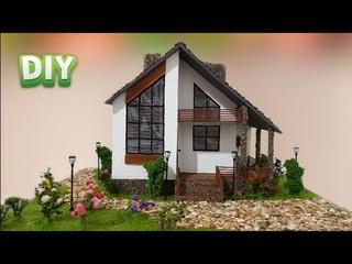 Загородный дом в современном стиле из картона / DIY